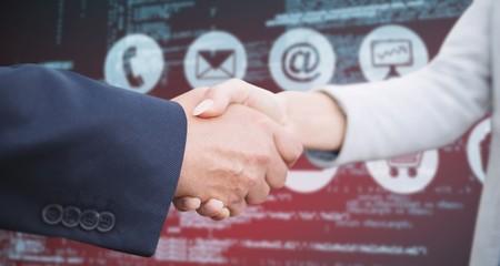 Composite image of corporate people doing handshake