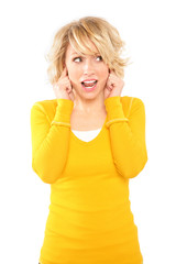 Blonde Woman Yellow Shirt - Expressions