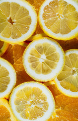 lemon and orange fruit isolated