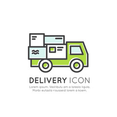 Vector Icon Style Illustration Concept of Quick Express Delivery Service with Mobile Tracking and Fast Purchase, Smart System, Location, Customer Support, Guarantee