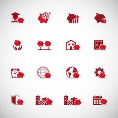 Savings icon set - piggy bank icons