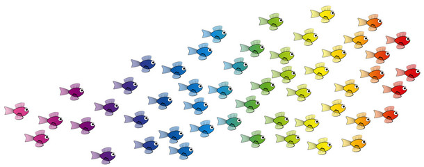 School of fish - rainbow colored young fish team - isolated vector comic illustration on white background.