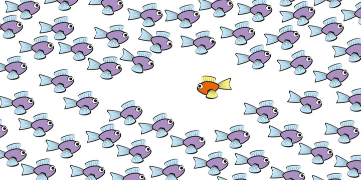 Swim against the tide - one fish is swimming in another direction - symbol for courage, individuality, loneliness or different lifestyle. Isolated vector comic illustration on white background.