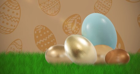 Composite image of big and small shiny easter eggs