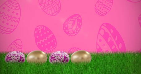 Composite image of various easter eggs arranged side by side