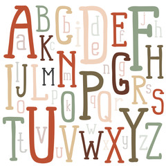 Multicolored letters of the alphabet of different sizes inscribed in a rectangular poster. A unique font drawn by hand. Vector illustration.