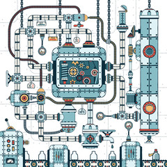 A fantastic complex steampunk machine made of interlocking pipes, cables, devices and accessories. Conveyor for filling bottles with liquid. Colored Vector illustration.