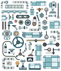 Machinery elements. Spare parts for creation of technically complex devices, apparatuses. Colored Vector illustration.