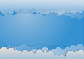Sky background with clouds. Template for something. Clouds are like paper