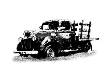 Pickup truck. Old car illustration.