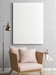 White poster in minimalism interior, 3d illustration