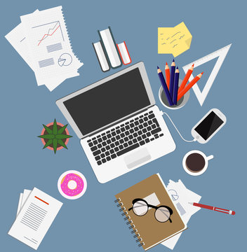 Workplace Documents Papers Folder Office Stuff Books NOtes Cup Notes Glasses. Top Angle View Flat Vector Illustration