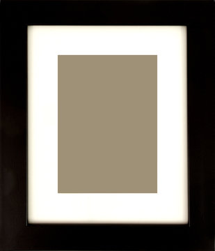 Black picture frame with white matte and empty space for photo.