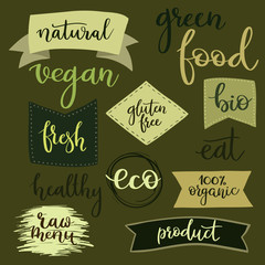 Organic food labels, badges, set for food, drink, organic products.