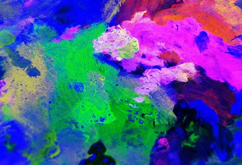 Abstract colorful close up detail of painter's palette