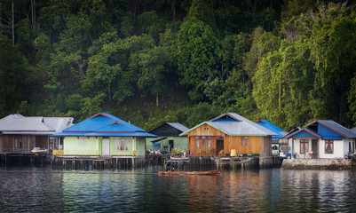 Sawai, a Little Paradise in the North of Seram Island, Maluku. A small village located on Seram Island, Indonesia. The local Mosque is the center of activity.
