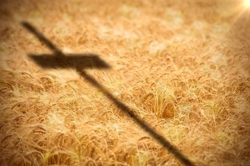 Composite image of close up of 3d wooden cross