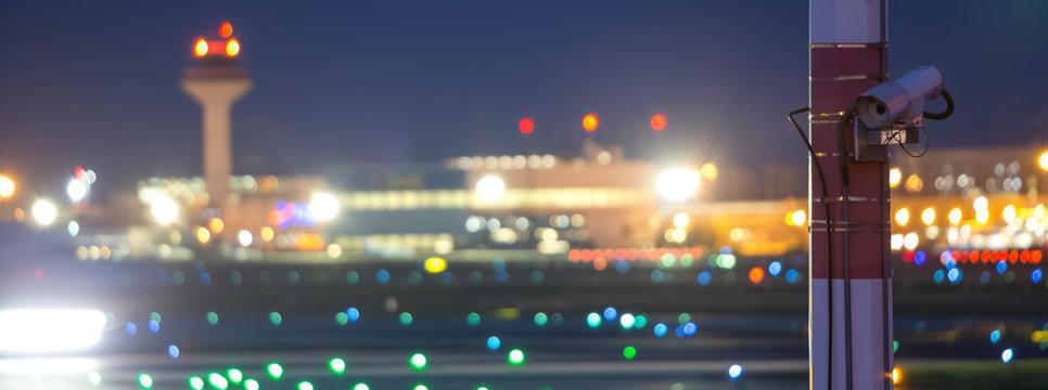 airport security camera at night