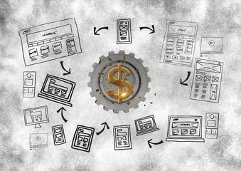 3D cog about money with graphic about webs
