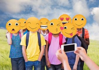 Class photography. Emoji face.