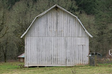 Old Grey Wooden Barn in the Country - Full Frame, Center Screen Composition, Use Barn Area for Copy Overlay with or without text box (HDR Image)