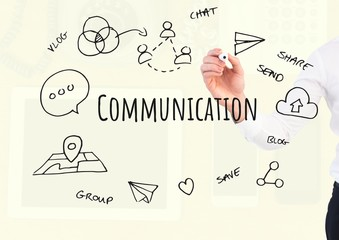 Hand writing Communication text with drawings graphics
