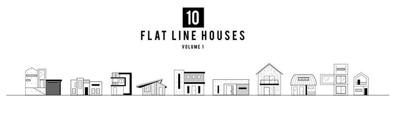 Modern Minimal House Illustration in Thin Flat line style