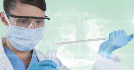 scientist working with test tube and with skeleton background