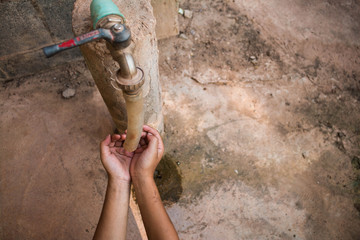 The children reach out waiting for water, Water shortage concept.