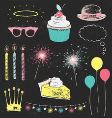 Party Decorations and Sparklers Chalk Drawing Design Elements Vector Set