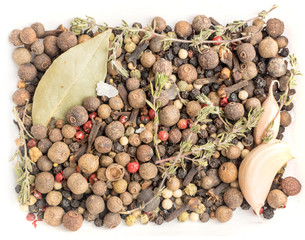 Fototapeta Group of Dry Spices with Thyme and Black Pepper obraz