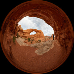 Circular view of the South Windows in the Arches National Park near Moab, Utah
