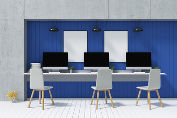 3D Rendering : illustration of Blank pc computer desktop with keyboard on desk blue color wooden wall. accessories in sunny room. loft cement concrete wall. minimalism interior mock up