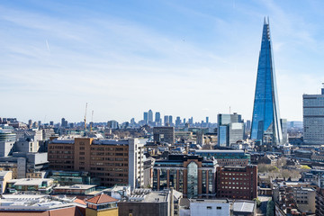 London - March 30: London downtown skyline with the shard on March 30, 2017.