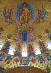 Fotobehang Imagination Jesus Christ with Archangels and apostles. Fragment of painting of the main dome of the Cathedral of St. Nicholas in Kronstadt