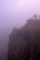 Pha Wing Chur canyon fog in sunrise,Chiang Mai,Thailand by drone