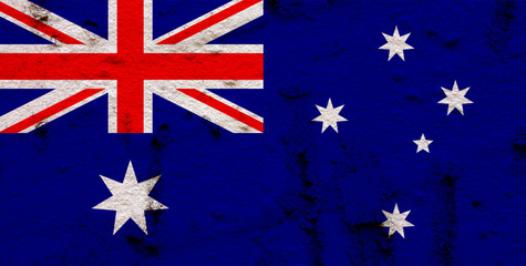 Australian Flag On Grunge Wall Background