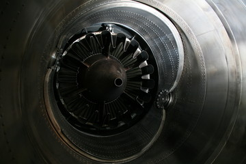 Turbine Engine Profile. Aviation Technologies. Aircraft jet engine detail in the exposition.
