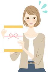 人物 イラスト 女性 謝罪の品を持つ女性