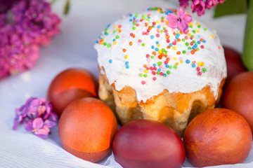 Colored eggs on white textile background, easter cake and white spring hawthorn flowers. Holiday.