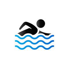 Duo Tone Icon - Man swimming