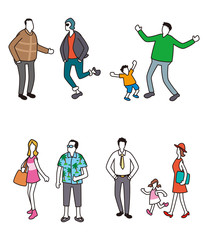 人物アイコン、顔なし人物、人物色々、複数人物イラスト