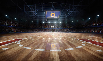 Professional basketball court arena in lights with fans 3d rendering