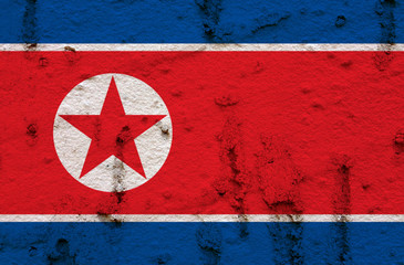 North Korean Flag On Grunge Wall Background