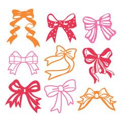 .Vintage Paper Cut Silhouette Ribbon Bow Set