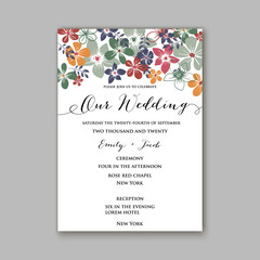 Peony Wedding Invitation Floral Bridal Wreath chrysanthemum flower Anemone, privet berry, currant berry vector illustration watercolor style Romantic invitation marriage, birthday, Valentine's day.