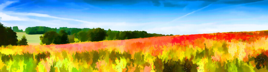 Papiers peints Orange Paysage impressionniste