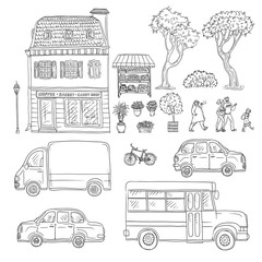 Vector black and white set of sketch illustration vintage European home, trucks and cars, coming people. Kit of outdoor plants and flowers in pots.