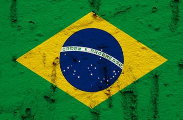 Brazilain Flag On Grunge Wall Background