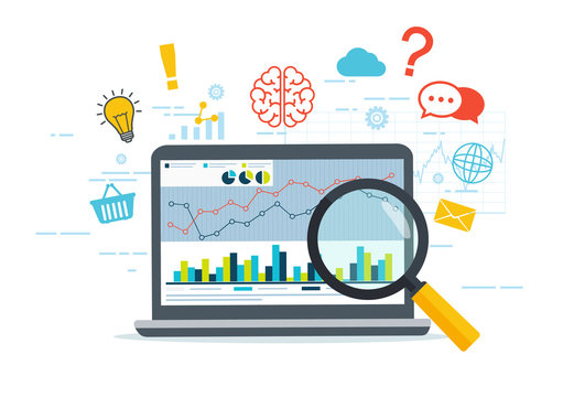 Web analytics and Information. Business strategy. SEO optimization. Digital marketing concept. Thinking from a laptop.